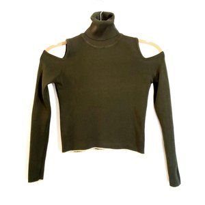 Zara Cold Shoulder Crop Turtleneck Green Gold Trim